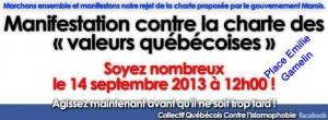 Manifestation contre la charte des valeurs québécoises