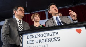 M Andrés Fontecilla, Mme Françoise David et M Amir Khadir. Photo Alexandre Claude