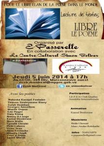 L'organisme E-Passerelle organise une lecture de textes poétique au centre Culturel Simon Bolivar